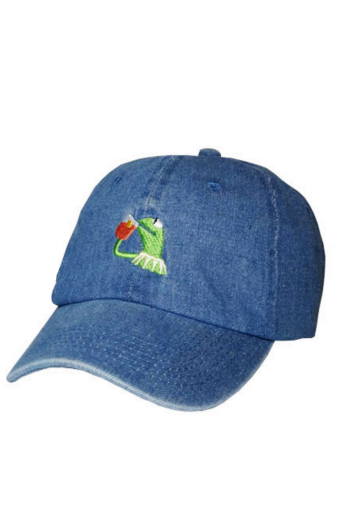 Denim Blue Frog Baseball Hat
