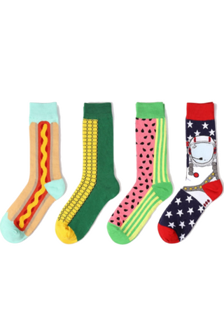 Unisex Fruits And Food Pattern Socks-4 Pack