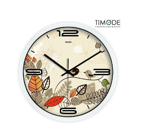 Fashion Art Wall Clock Lovely Bird In White