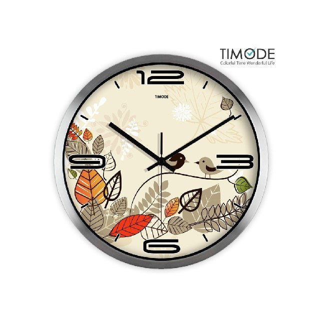 Lovely Bird Clock Silver Satin