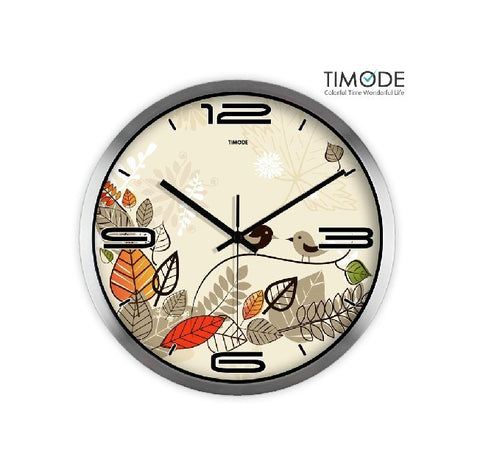 Fashion Art Wall Clock Lovely Bird In Silver Satin