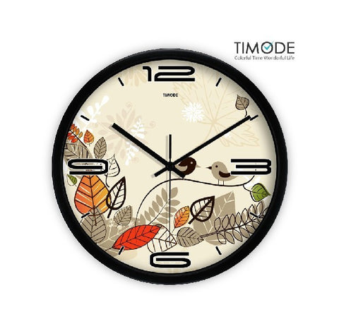 Fashion Art Wall Clock Lovely Bird In Black