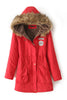 Red Faux Fur Hooded Zipper Embellished Military Coat