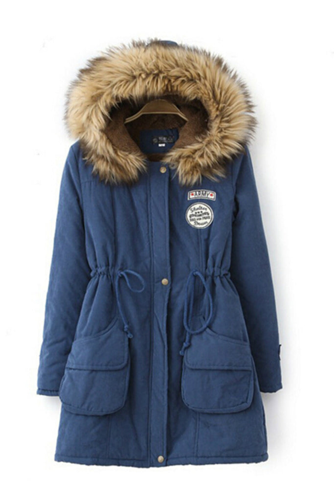Blue Faux Fur Hooded Zipper Embellished Military Coat