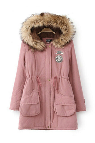 Pink Faux Fur Hooded Zipper Embellished Military Coat