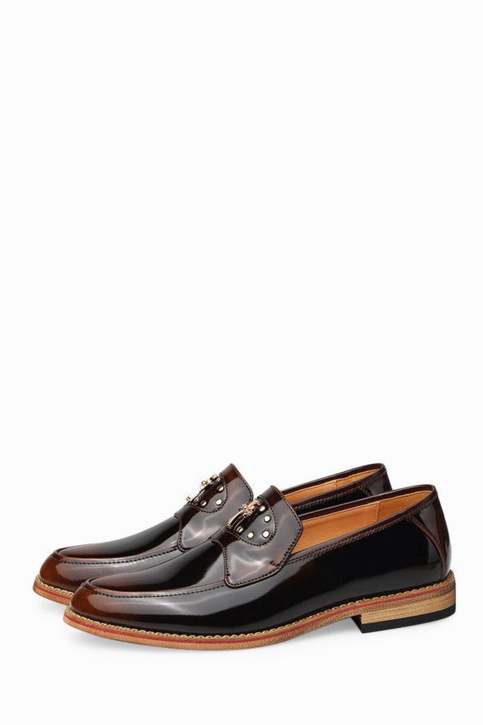 Fashion Patent Men's Shoes In Brown