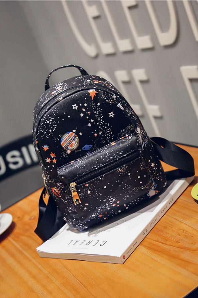 Black Space Planet Backpack