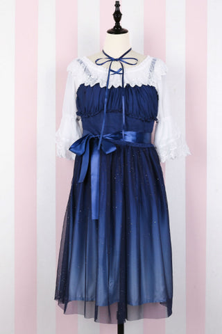 Lolita Gradient Blue Galaxy Strappy Dress