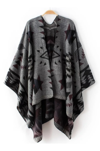 Ethnic Pattern Scarf Poncho Cape