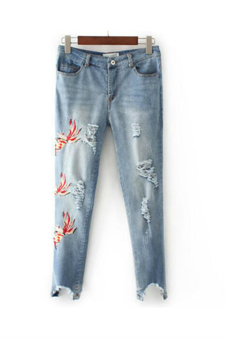 Gold Fish Embroidered Skinny Jeans