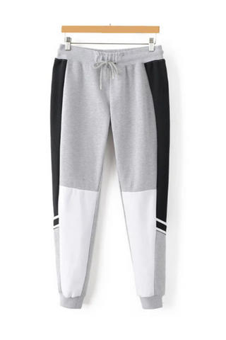 Gray Black Drawstring Pants
