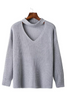 Gray V-neck Knitted Sweater