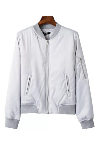 Elegant Gray Zipper Bomber Jacket