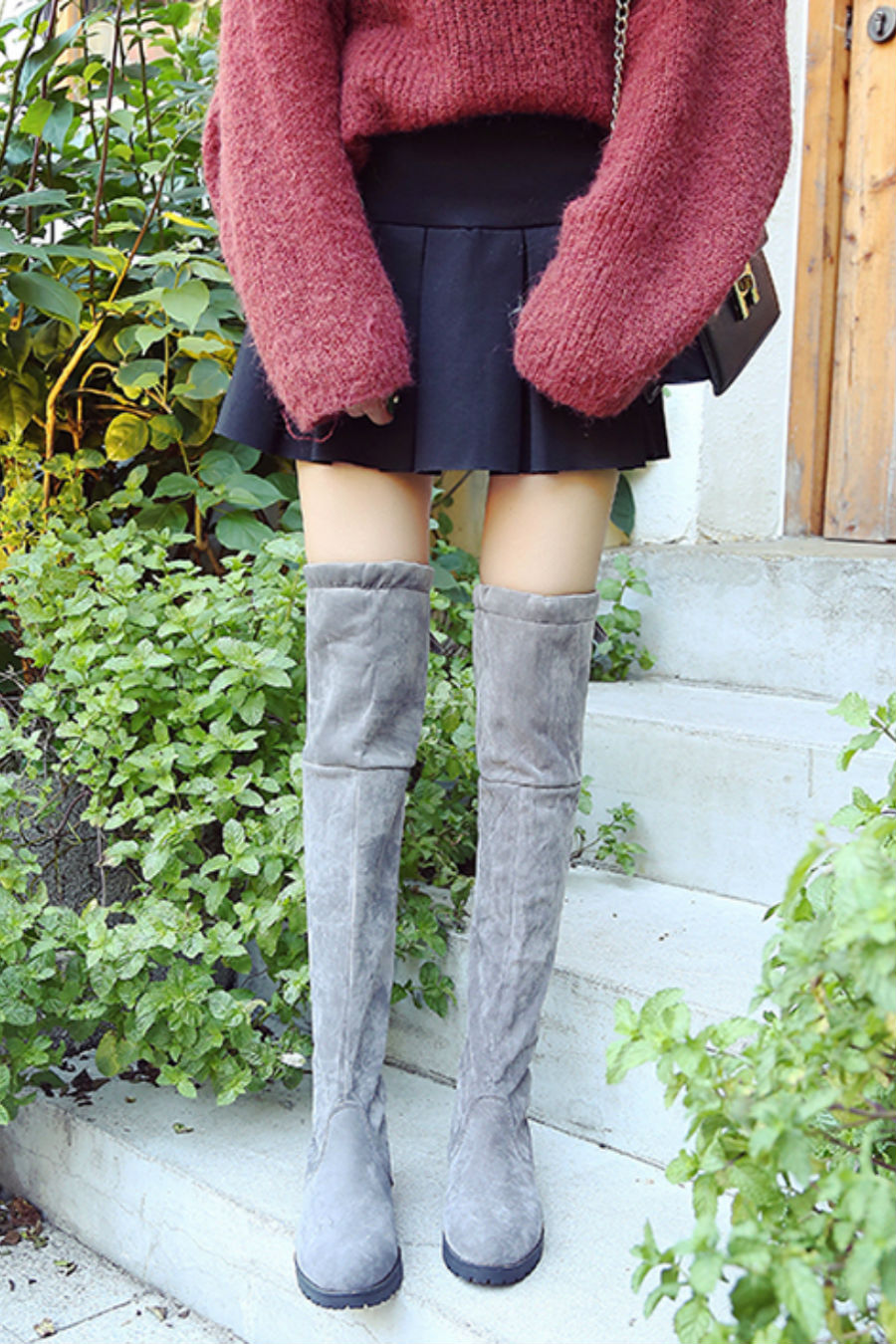 Gray Over Knee Boots