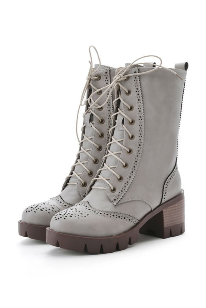 Gray Lace Up Heeled Boots