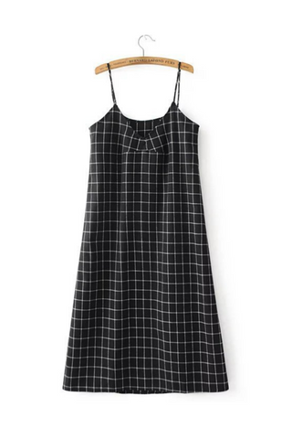 Grid Strappy Dress