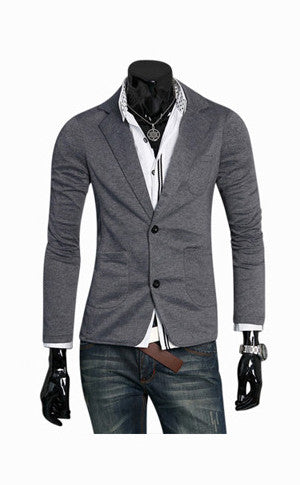 Man Dark Gray Collar Jacket