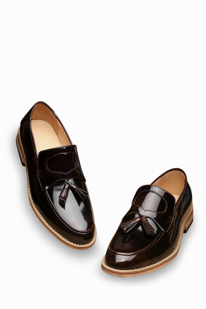 Natural Leather Loafers In Bronze With Tassel Front