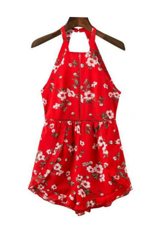 Red Floral Printed Backless Halter Romper