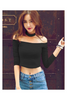 Shoulder Halter Black Crop Top