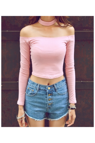 Shoulder Halter Pink Crop Top