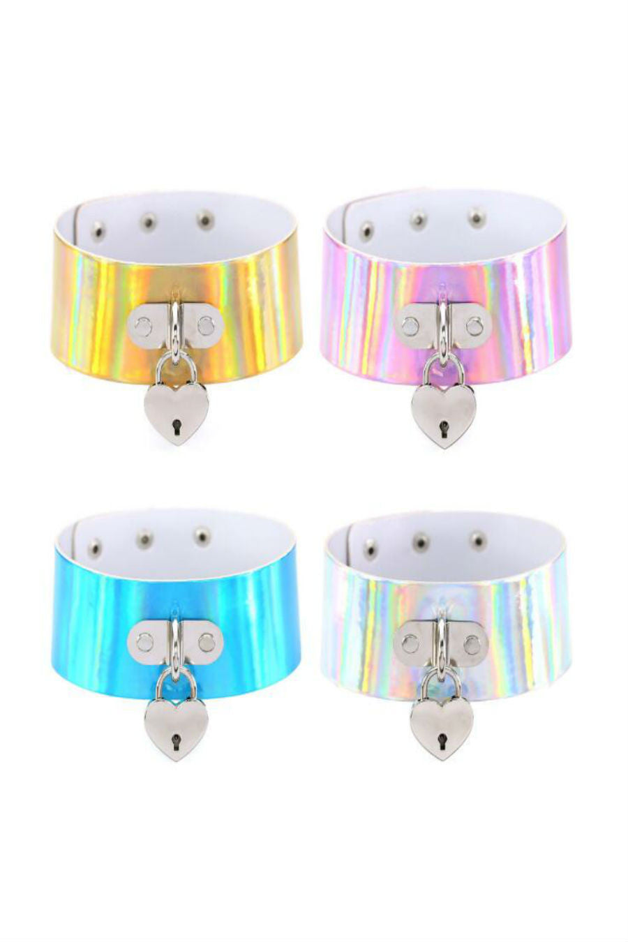 4pcs Heart Hologram Choker
