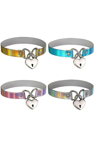 4pcs Hologram Heart Choker