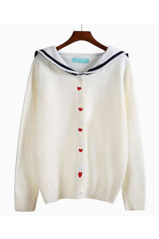Lovely Heart Nautical Cardigan In Cream