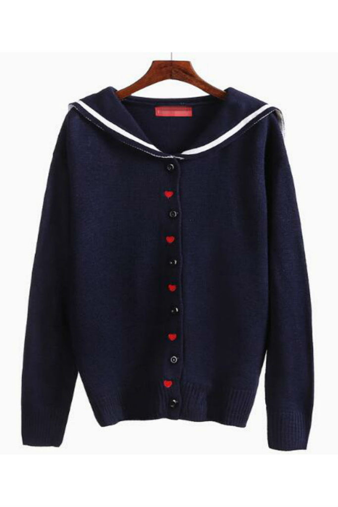 Lovely Heart Nautical Cardigan In Navy