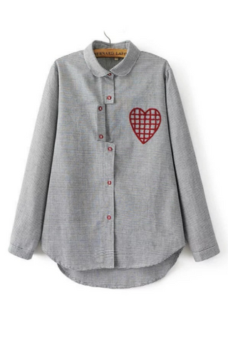 Heart Embroidered Striped Shirt