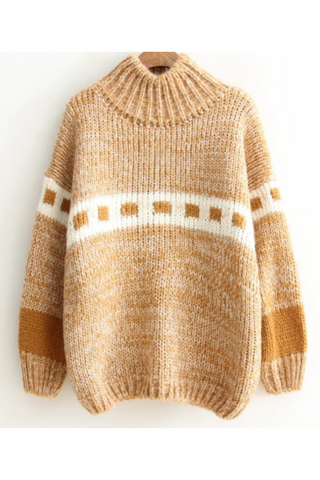 College Style High Neck Sweater