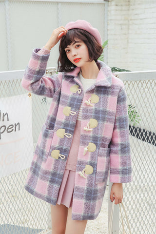 Retro Pink Plaid Woolen Coat