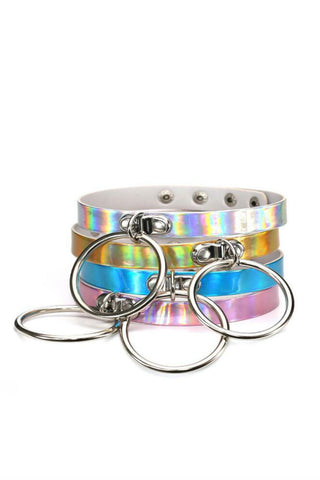 4pcs Hologram O-ring Choker