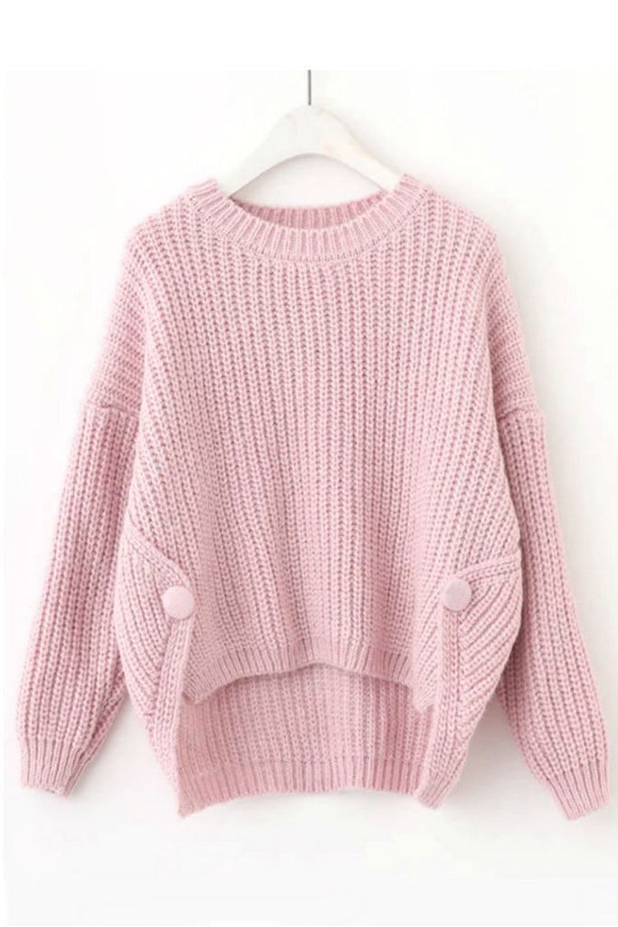 Irregular Solid Knit Sweater