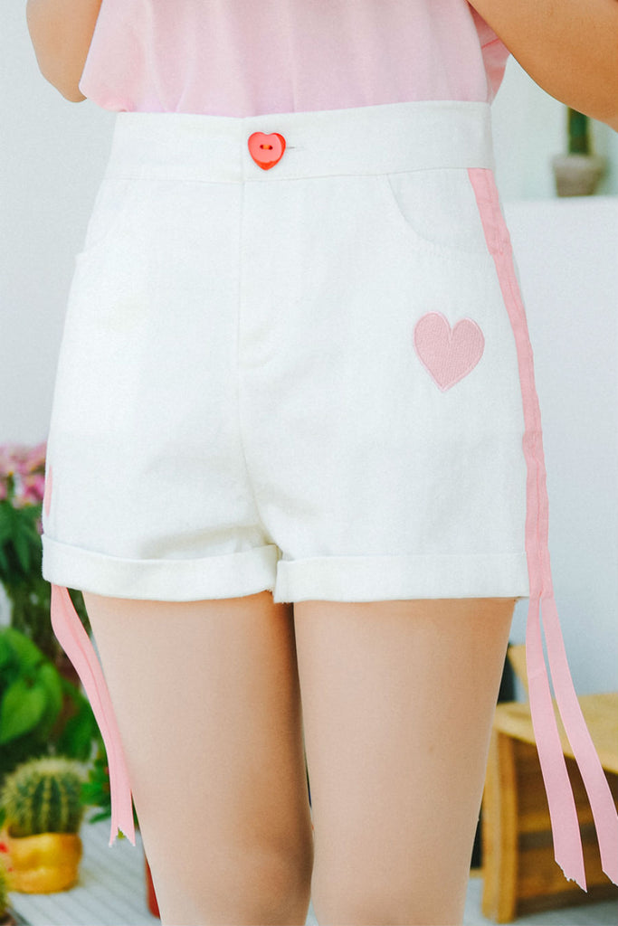 Heart Embroidery White Shorts