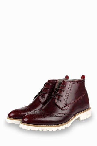Brogue Oxford Boots In Burgundy