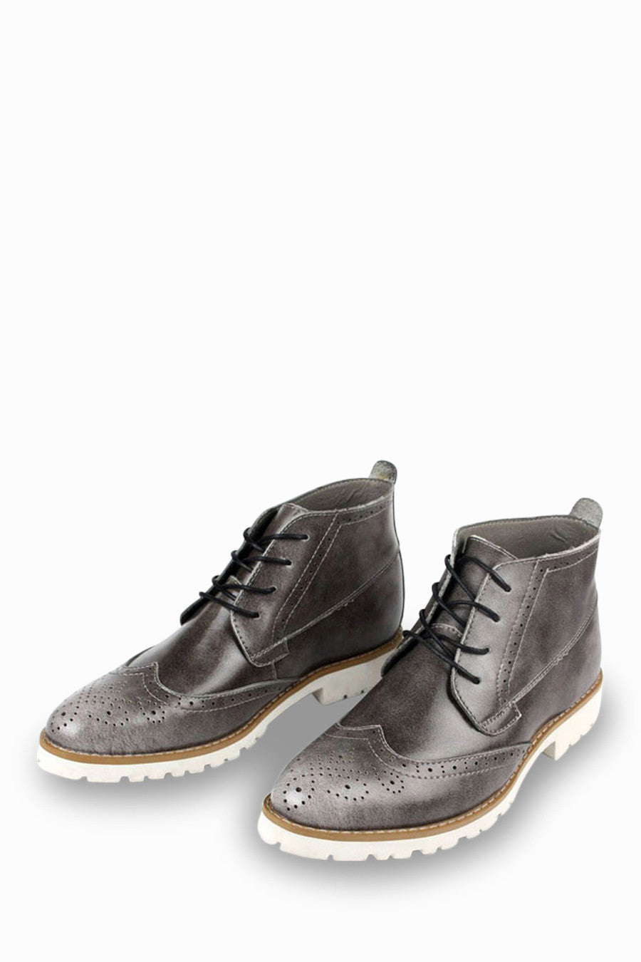 Brogue Oxford Boots In Gray