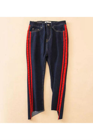 Vintage Striped Irregular Jeans