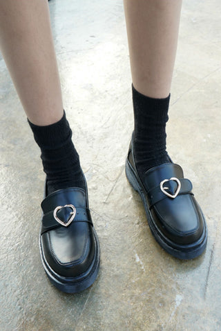Black Hearts Buckle Loafers