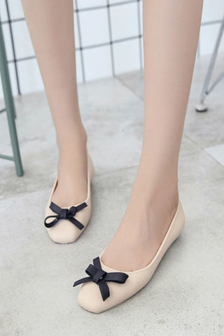 Beige Bowknot Jelly Flats