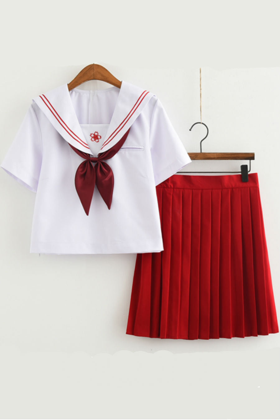 🌸 JK Sakura Tie Up Uniform Red