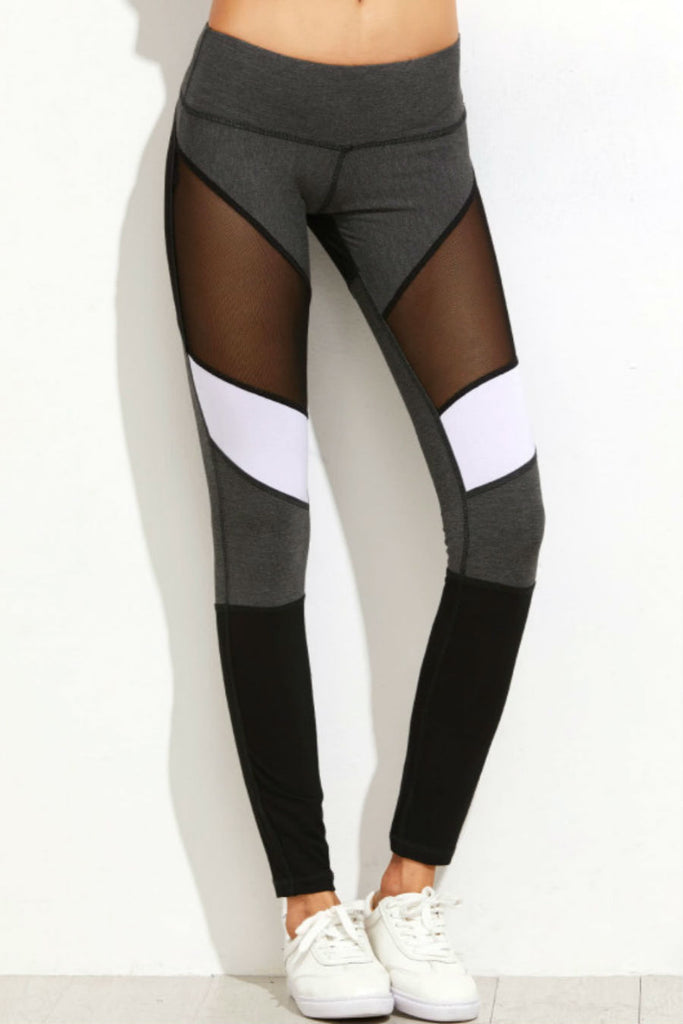 Color Block Mesh Leggings