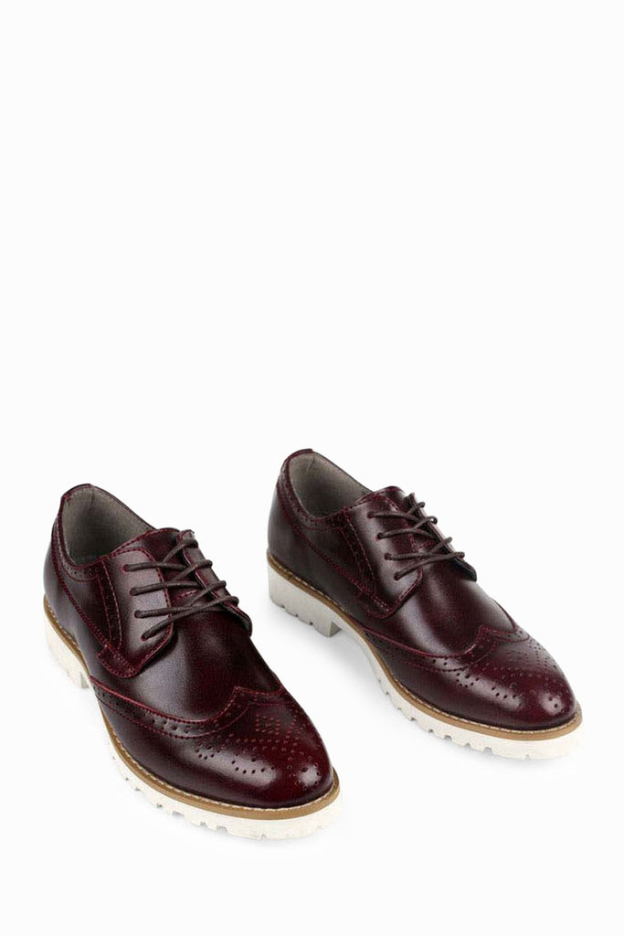 Leather Dress Shoes In Burgundy