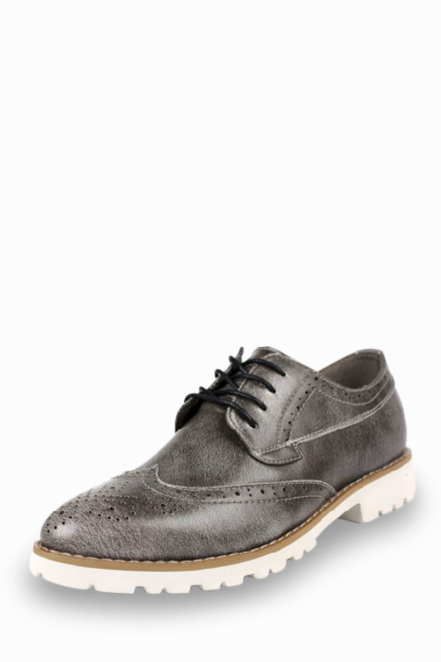 Leather Dress Shoes In Grey