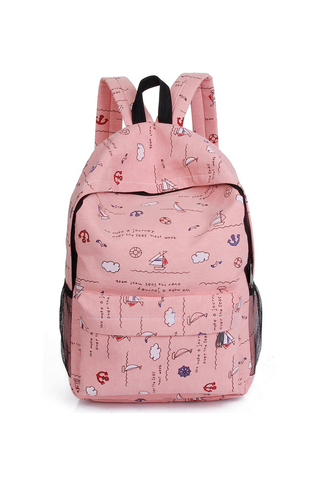 Pink Printed Backpack