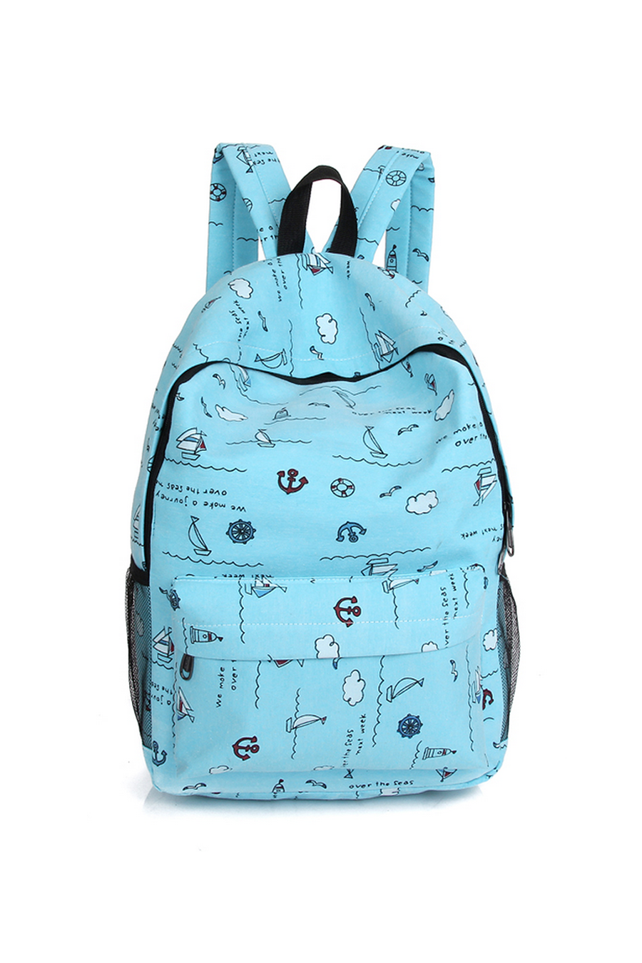 Pastel Blue Printed Backpack