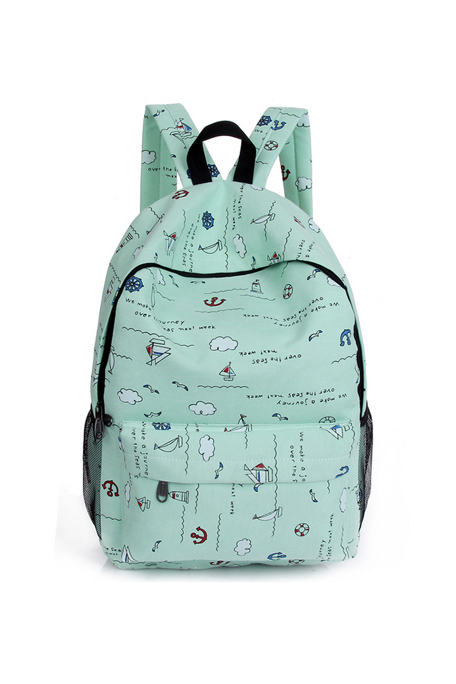 Green Printed Backpack
