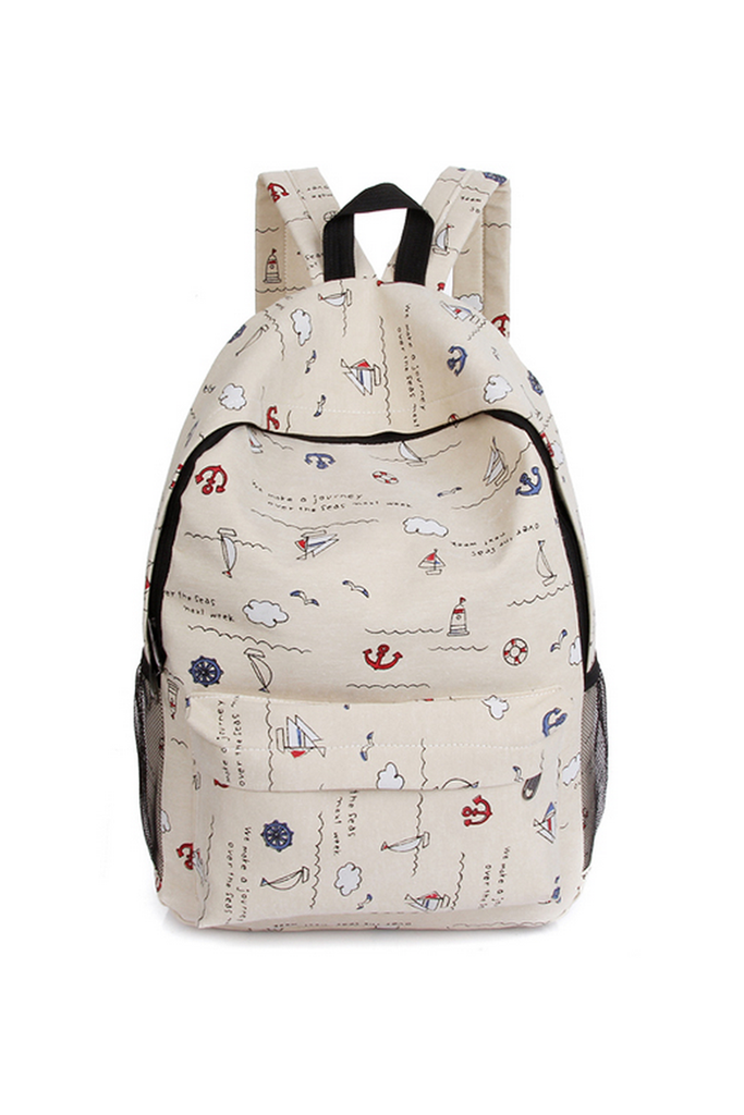 Beige Printed Backpack