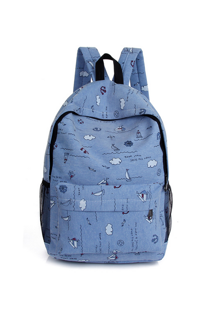 Denim Blue Printed Backpack