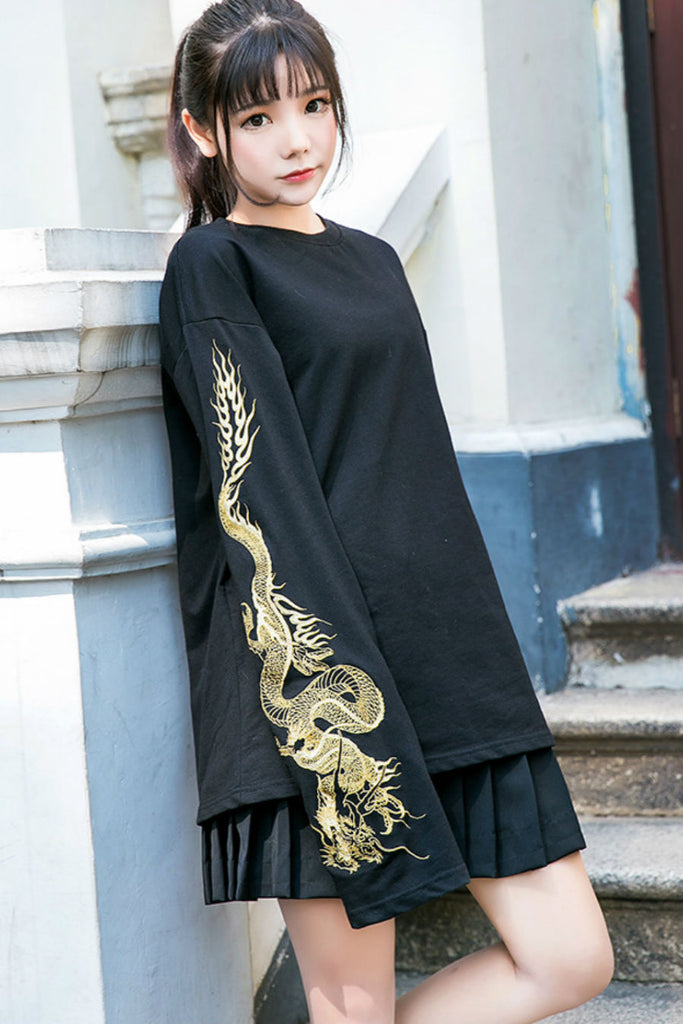 Dragon Embroidery Long Sleeve Tee